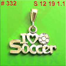 #332 I love Soccer Bal Sport Charm Pendant Jewelry 925 Sterling Silver Necklace