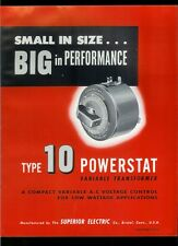 Rare Orig Factory 1955 Superior Electric Type 10 Powerstat Transformer Brochure