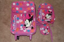 GIRLS DISNEY MINNIE MOUSE SUITCASE W/ WHEELS AND ACCESSORIES  PINK POLKA DOTS