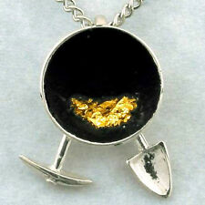 Pan Pick & Shovel Necklace, Hand Crafted Sterling, Gold Flakes prospector mine