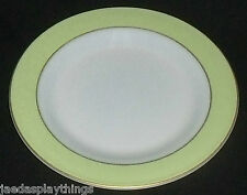 """Pyrex Lime Green Band Milk Glass Dinner Plate 10"""" Gold Trim FREE US Ship"""