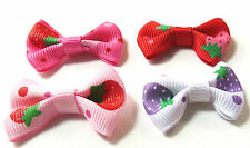"12, 24 or 36 Stawberry mini Grosgrain Ribbon Bow Appliques 1.5"" Fast US Shipping"