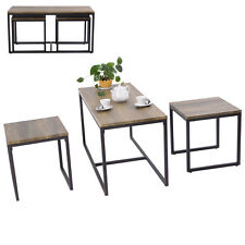 3 Piece Nesting Coffee & End Table Set Wood Modern Living Room Furniture Decor