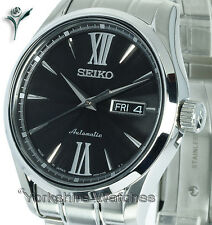New SEIKO PRESAGE SAPPHIRE AUTO BLACK FACE AND STAINLESS STEEL BRACELET SRP327J1