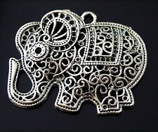 1 Large Filigree Tibetan Silver Animal Lucky Elephant Charm Pendant 45mm (TSC32)