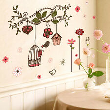 Flower Vine Bird Cage Removable Art Vinyl Decal Mural Living Room Wall Sticker