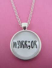 Semi Colon Warrior Silver Glass Necklace New Gift Bag Mental Health Awareness