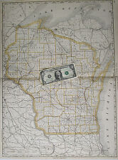 XL 1889 date WISCONSIN Wall Map McNally BUSINESS Railroads 1800s SOO CM&StP WC