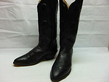 Womens 8.5 M Dan Post Black Calf leather Cord Design Western Cowgirl Rodeo Boots