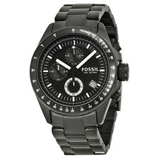 Fossil Men's CH2601 Decker Chronograph Black Dial Black Steel Bracelet Watch