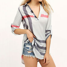 Womens V Neck Loose Long Sleeve Casual Blouse Shirt Ladies Fashion Tops T-Shirt