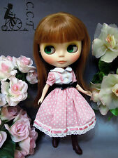C.C.T Blythe Dal doll outfit pink dotted dress with black ribbon c-521