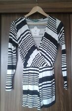 Ladies Black White Wrap Playsuit Size 8 Casual Formal Evening Party Club Outfit