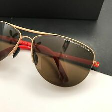 Porsche Design Eyewear P8570 Women's Gold Tone Orange Pilot Sunglasses NWT Case
