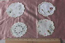 Lot Of 4 Tiny Victorian Silk Hand Emb Silk Society Work Coasters/Mats~4 1/2""