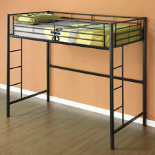 New TWIN Loft Bed in Black Metal Bunk - Great for dorm or kids room!  SHIPS FREE