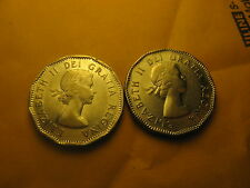 2 VARIETIES CANADA 1953 5 CENT COINS NEAR LEAF SHOULDERFOLD & FAR LEAF NON SF
