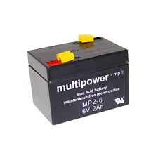 Multipower Blei-Gel Akku AGM MP2-6 6V 2Ah Batterie Accu 6 Volt Lead Acid Battery