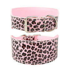"3.0"" Wide Luxury Plain PU Leather Dog Collars For Medium Large Dogs 4 Colors"