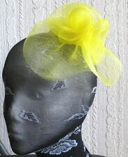 yellow flower fascinator millinery  brooch clip wedding hat bridal ascot race