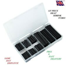 127pc black heat shrink tube assortiment wire wrap isolation électrique gaine