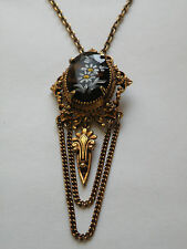 Vintage Victorian revival painted flower amber glass pin pendant necklace