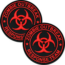 2x Tactical 3D PVC Morale Patch Zombie Outbreak Biohazard Military Red