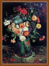 "Vase Zinnias and Geraniums by Van Gogh 11""x14"" Still Life canvas print"