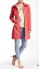 VIA SPIGA NEW WOMEN TASSEL RAIN COAT WATER REPELLENT IN CORAL SIZE L MSRP $180