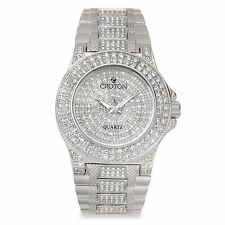 Croton Women's CN207538RHPV Balliamo Rhodium Crystal Accents Quartz Dress Watch