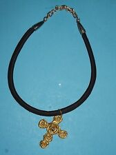 """Cross on Velvet Necklace Brass Tone Color of Flowers Roses about 20"""" Keepsake"""
