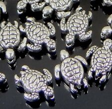 25 tiny Silver Pewter Turtle Beads 9x7mm ~ Lead-Free ~