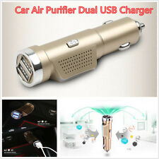 Dual USB Car Charger 12V Air Fresh Ionic Purifier Oxygen Ozone Ionizer Cleaner