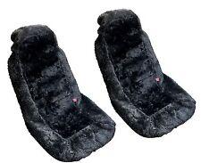 2x Black Authentic Sheep Skin Front Seat Covers - Genuine Plush Sheepskin HS2