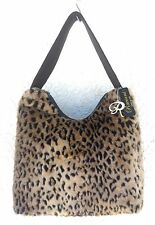 Raviani Western Leather Handbag Purse w/ Sexy Leopard Faux Fur - Made In USA!