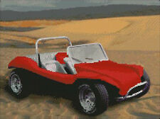 """Red Beach Buggy on Sand Counted Cross Stitch Kit 14"""" x 10.5"""" 35.6cm x 26.9cm"""