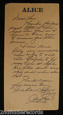 BETTY GRABLE DEATH-Rare Hand Written Letter By ALICE FAYE Regarding Betty Grable