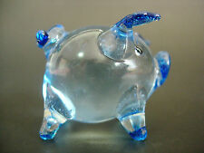 Glass PIG PIGLET Painted Blue Glass Ornament Curio Glass Animal Display Figure
