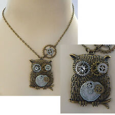 Gold Steampunk Owl Pendant Necklace Jewelry Handmade NEW Accessories Adjustable