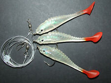 SUPER FISH SHAD RIG LURE 3 x 2/0 HOOKS BOAT PIER BASS COD SEA FISHING LINE CLIP