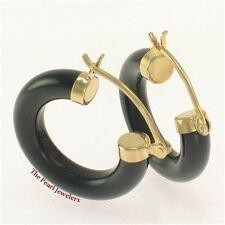 14k Solid Yellow Gold Hook Earrings Made of Genuine Black Onyx Tube Ring