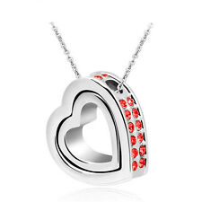 NEW DIY Women Double Heart Red Crystal Silver Charm Pendant Chain Necklace YB3S2