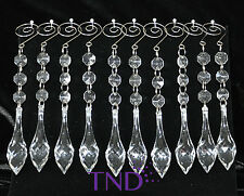 20 PCS ACRYLIC HANGING CRYSTALS ORNAMENTS WITH TEARDOP PRISMS & SPIRAL HOOKS