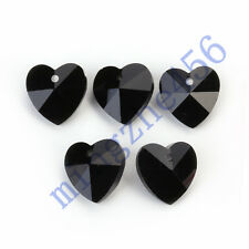 12pcs 14mm  Black Glass Crystal Heart Shape Beads Spacer Jewelry Findings Charms