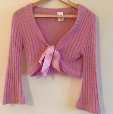 Women's Pink Sweater (Petite Small) With Bow Tie Front and Shimmer