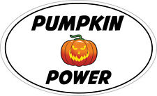PUMPKIN POWER OVAL SHAPE VINYL STICKER - Halloween Themed - 16 cm x 9 cm