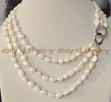 "Natural 3 Rows 7-8mm baroque white freshwater pearl jewelry necklace 17-20"" AA"