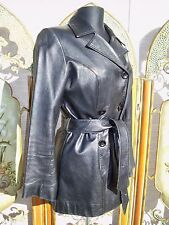 Ships FREE! bebe SOFT BLACK LAMB LEATHER JACKET TRENCH DOUBLE BREASTED BELTED M