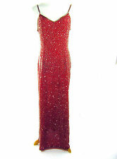 Vintage Laurence Kazar Red Silk Beaded Evening Dress Sz L XL Sequined Maxi Glam