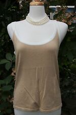 Ellen Tracy Med Beige w/ Ivory Trim Scoop Neck Sleeveless Top/Tank/Cami - Sz L